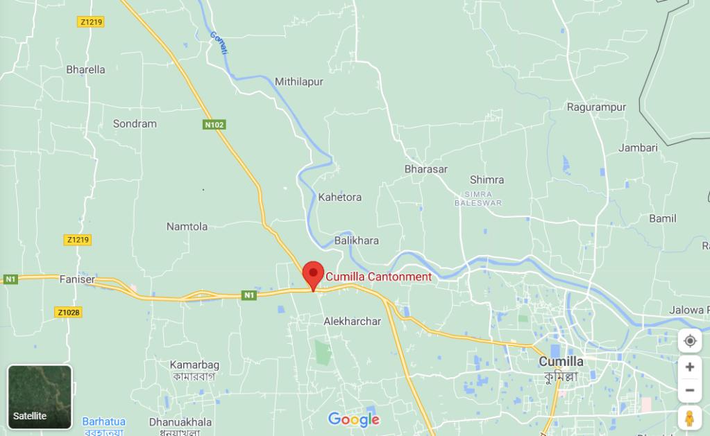 Map of Cumilla, Bangladesh.